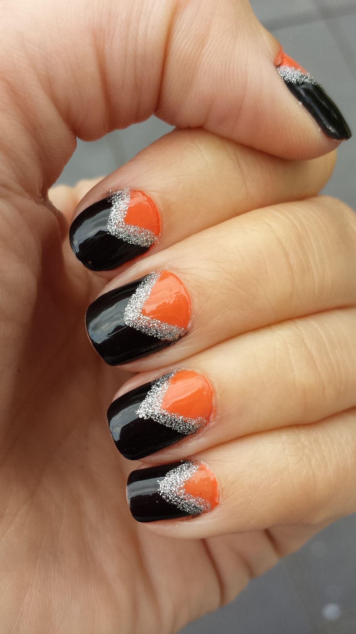 Miss Polish Nail Couture - Black, Orange and Gold Nail Art ...