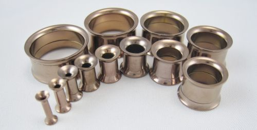 PAIR-SCREW-FIT-STAINLESS-STEEL-TUNNELS-EAR-GAUGES-PLUGS-DOUBLE-FLARE-FLESH-RING