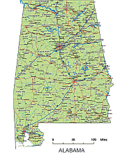 Detailed vector map of Alabama with scalbar. | Alabama maps | State on