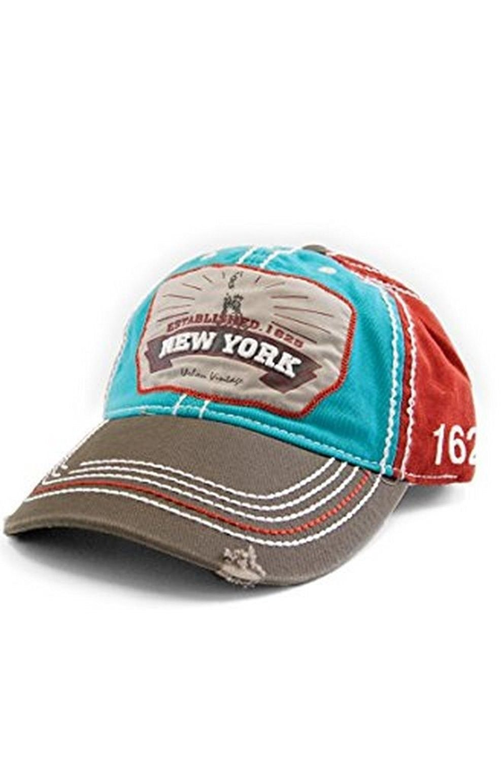 New York 1625 Vintage Baseball Cap (25 Styles Available) - Red Turq Grey -  CV129HS1BDH - Hats   Caps 17535def7a5