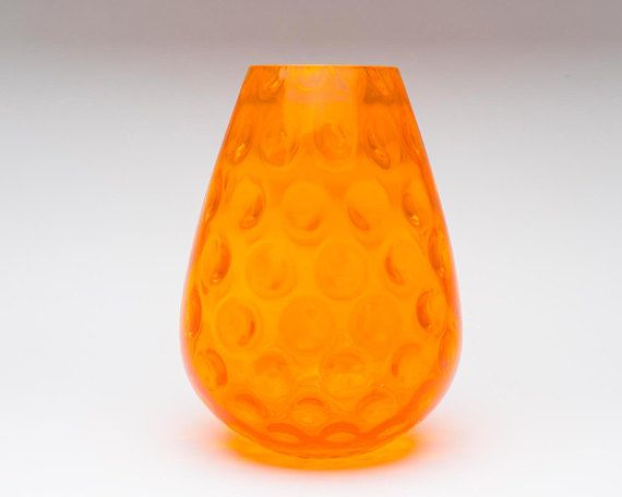 Large Vintage Bubble Glass Vase1960s Orange Glass Vase Retro