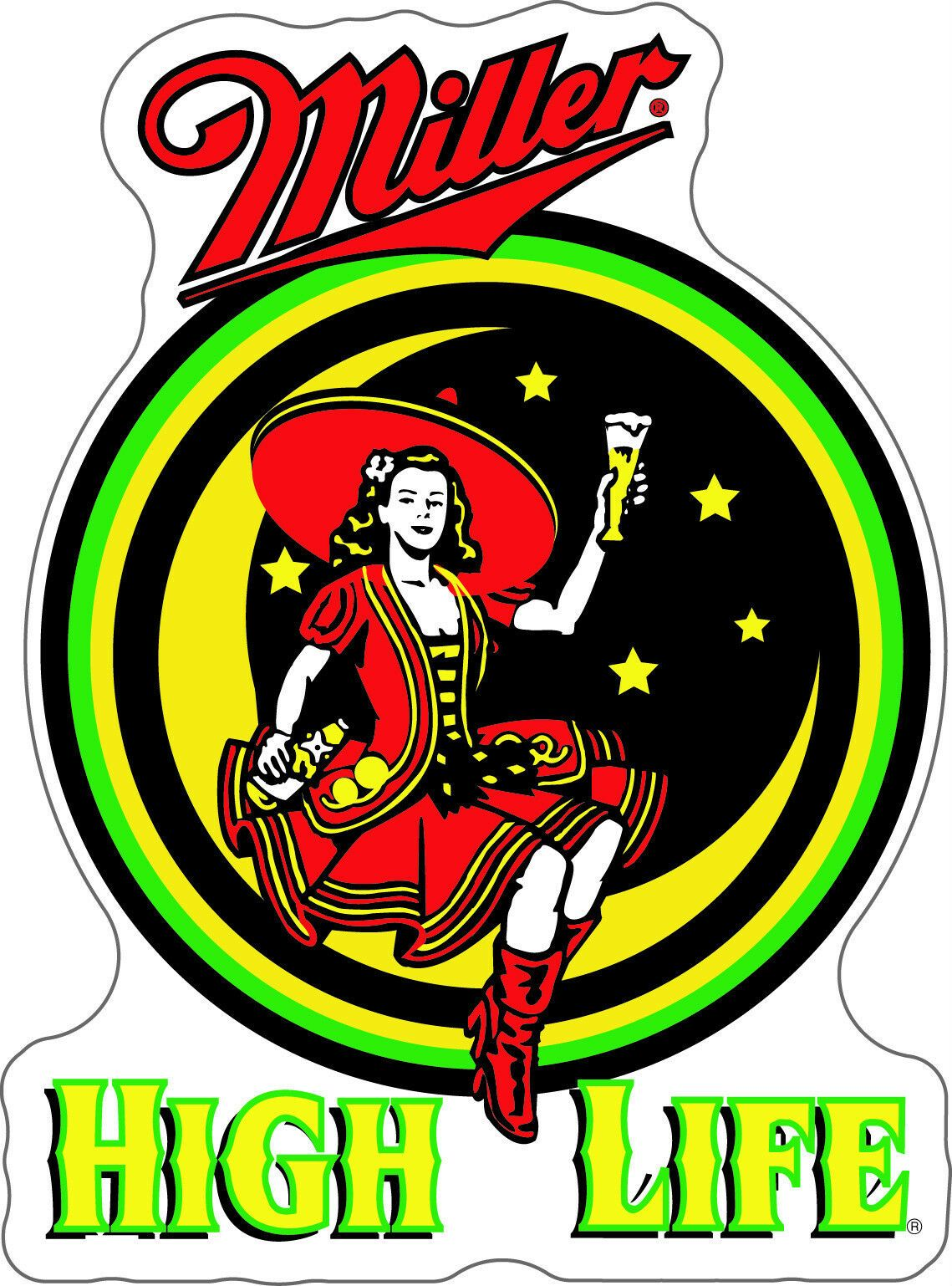 MILLER High Life Sticker Decal DIFFERENT SIZES Beer Bumper