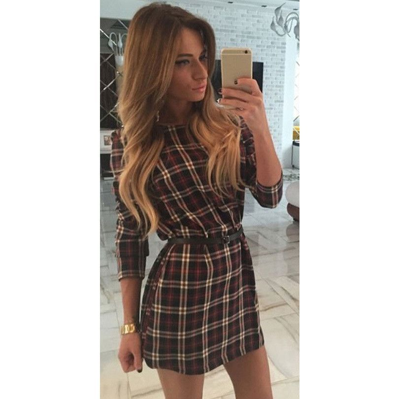 new style autumn and spring women plaid dresses o-neck long sleeve loose dresses casual mini dress