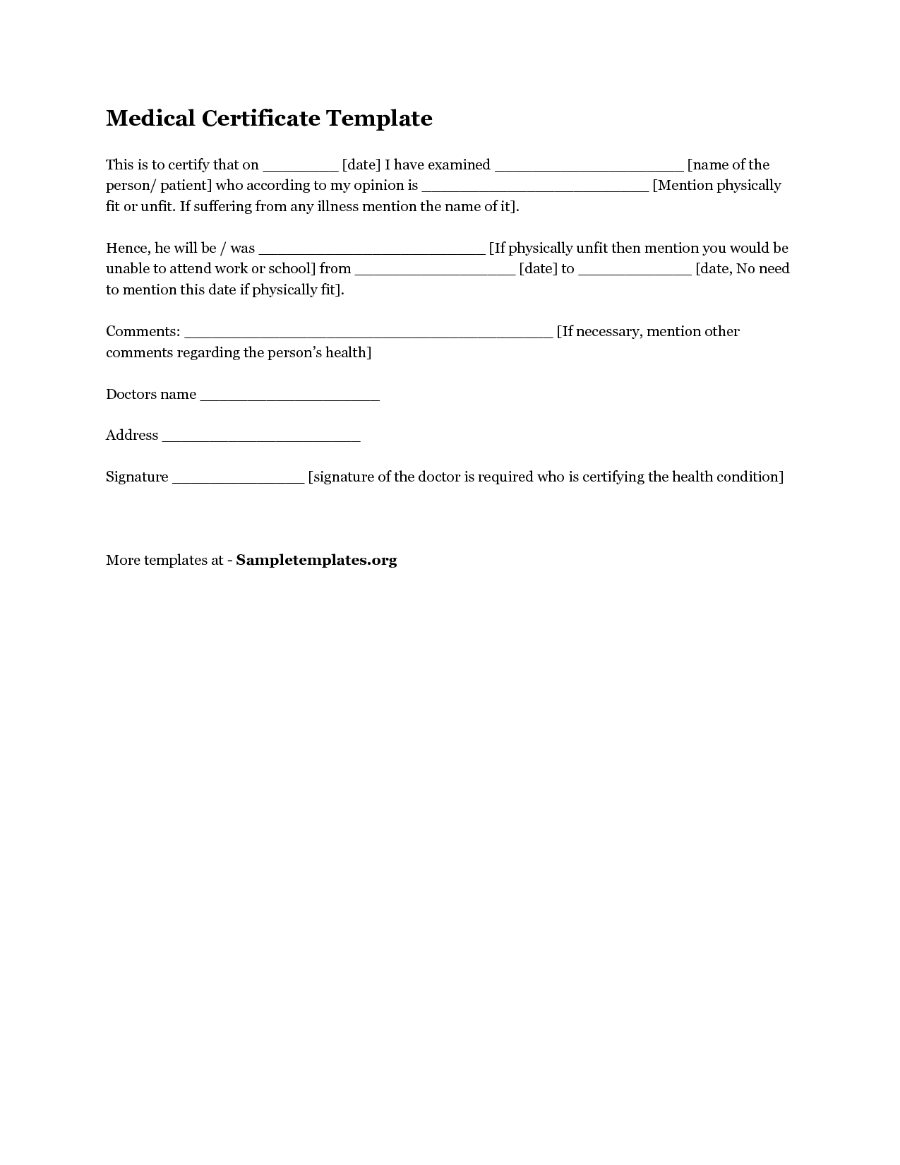 Medical Certificate Template Download Medical Certificate Template1  Resume Examples  Pinterest .