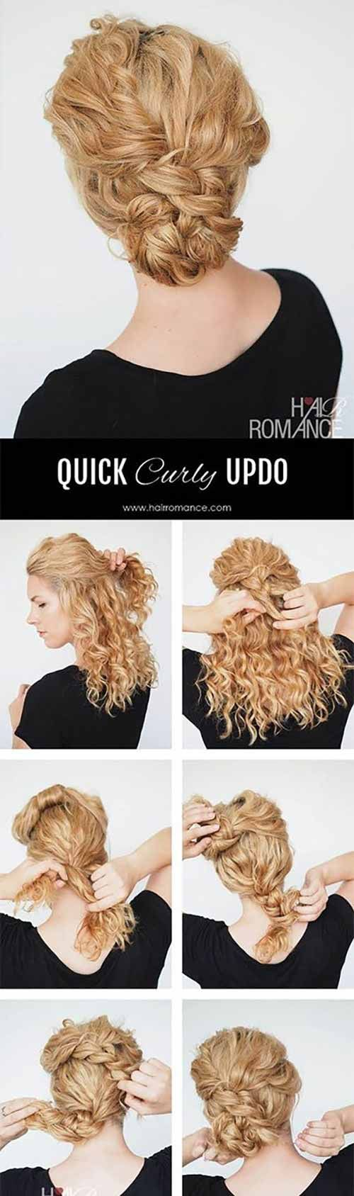 20 Incredibly Stunning Diy Updos For Curly Hair Curly Hair Updo Easy Hair Updos Diy Updo