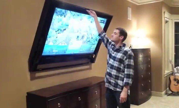 Retractable Hidden Tv Mounts Television Cachee Cadre Tv Et Tv