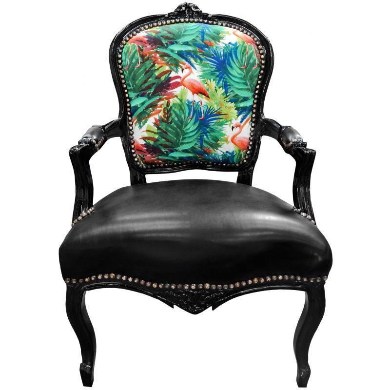 Exceptionnel Flamingo French Louis XV Chair Black Leather