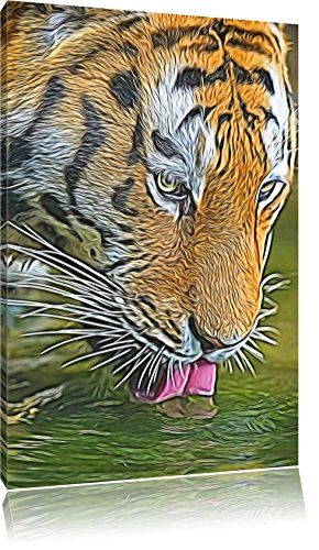 magnificent Tigers while drinking abstract Format 60x40 on canvas - abstract format