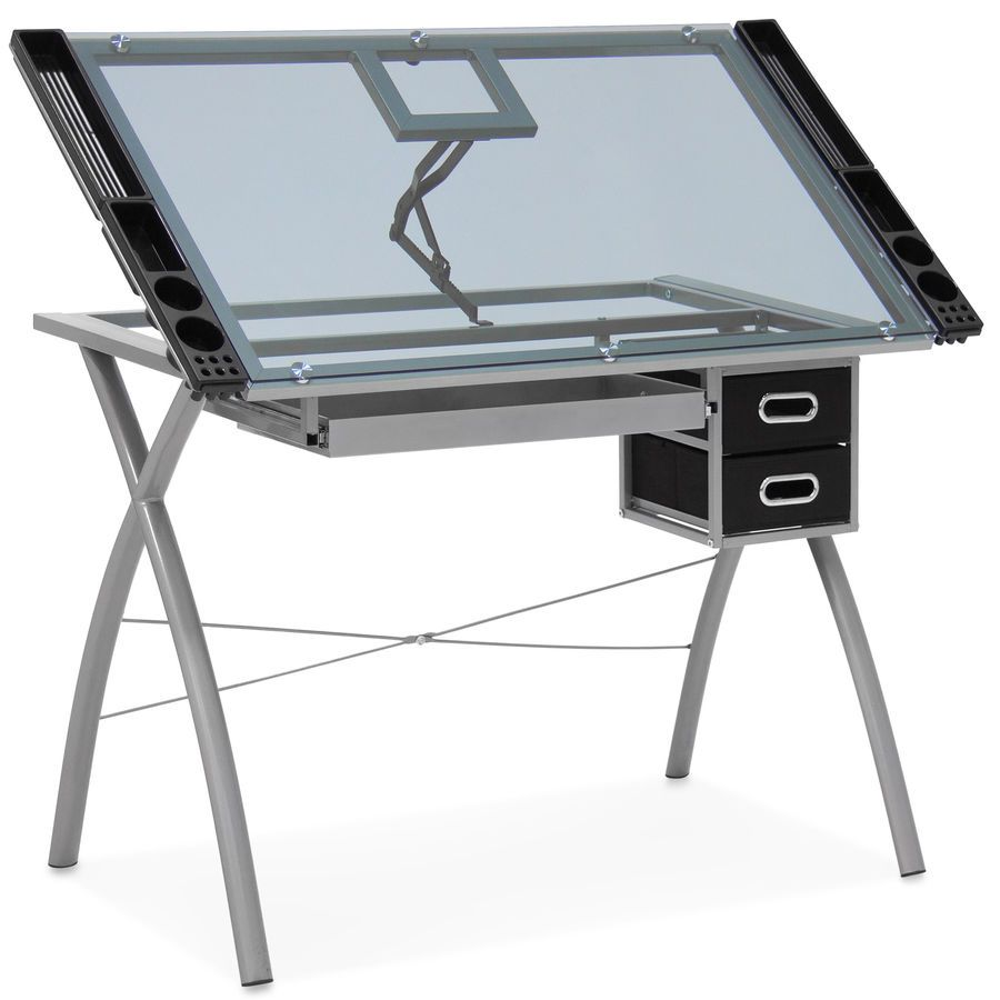 Bcp Adjustable Drafting Table W Glass Top And Drawers Silver Black 816586026767 Ebay Table Glass Drafting Drawing Desk Drawing Table Art Table