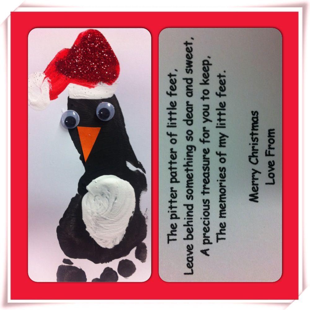Footprint penguin Christmas cards | Christmas | Pinterest ...