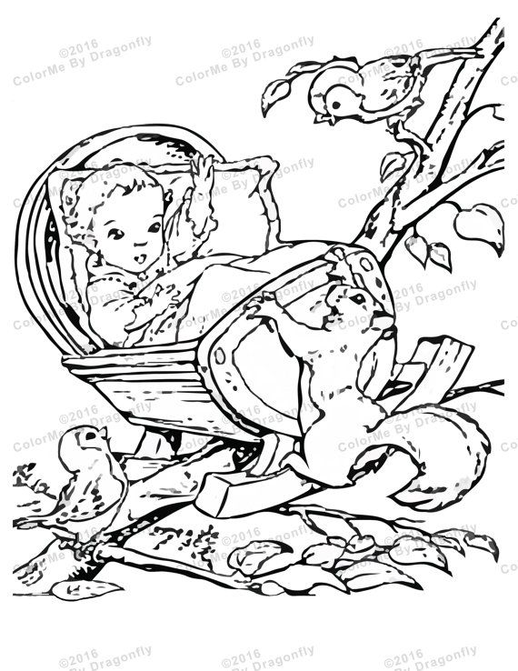Newborn Baby And Cradle In Treetop And Baby Will Fall Adult