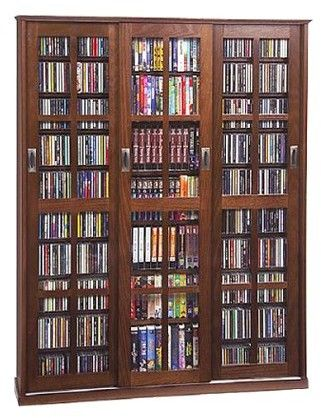 Leslie Dame Enterprises Triple Wide Media Storage Cabinet Walnut