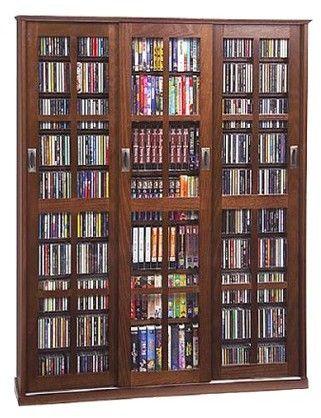 Leslie Dame Enterprises Triple Wide Media Storage Cabinet Walnut