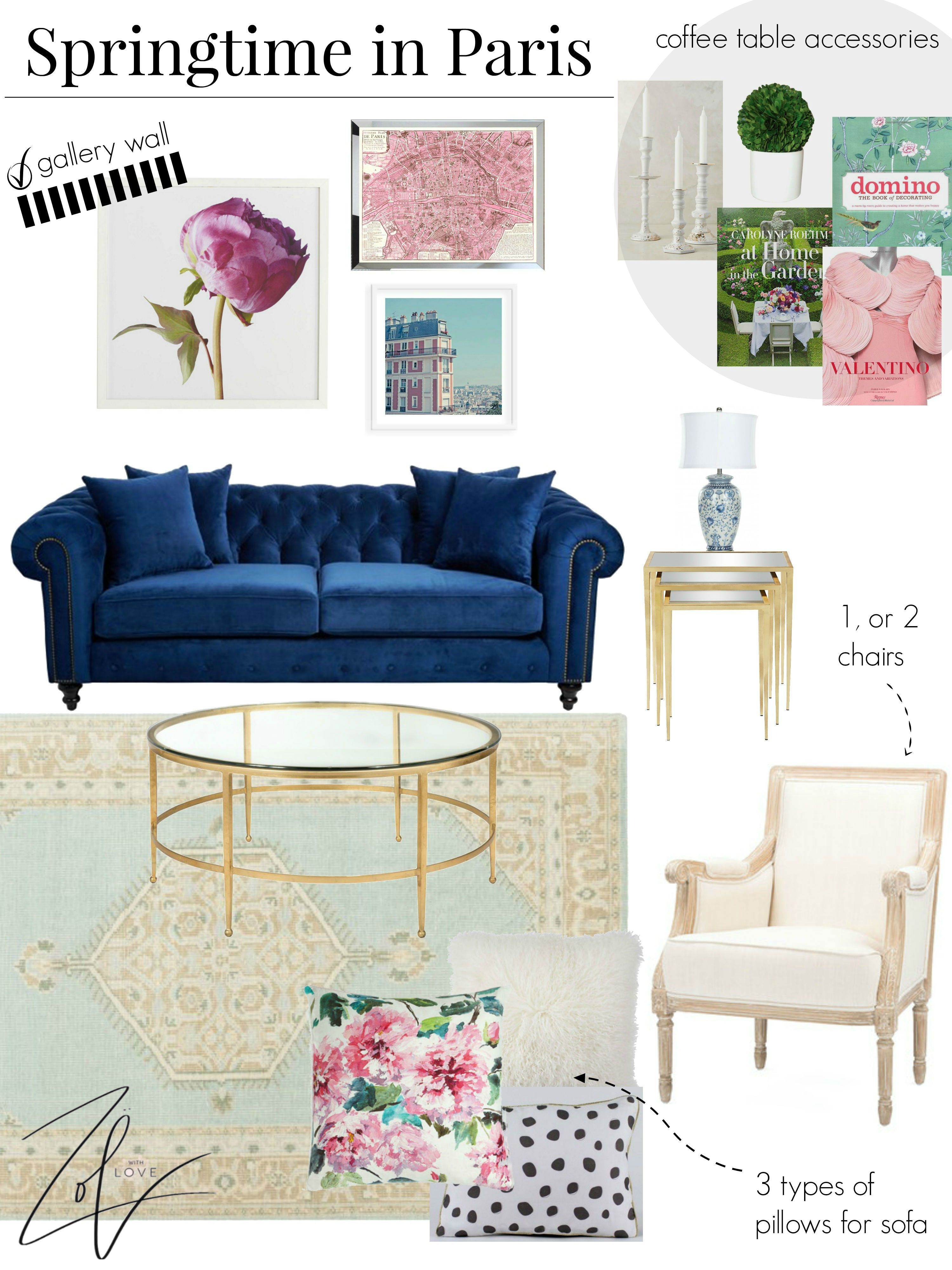 Home Decor Springtime In Paris Zoe With Love Blue And Pink Living Room Pink Living Room Decor Blue Couch Living Room