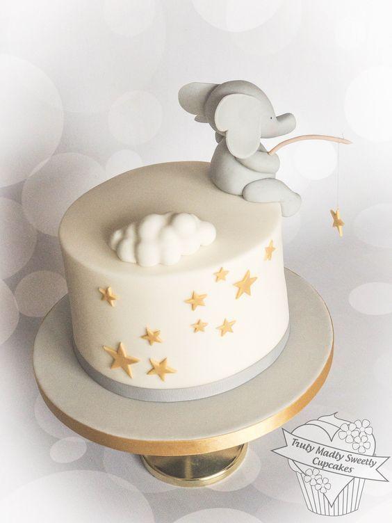 A dreamy first birthday cake for my Grandson Quinn #fondant