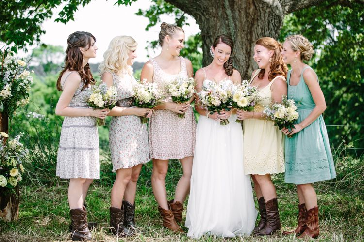 Country Wedding With Mismatched Bridesmaid Dresses | Mismatched ...