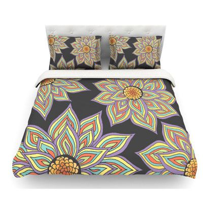 East Urban Home Floral Rhythm by Pom Graphic Design Featherweight Duvet Cover Color: Black/Purple/Yellow, Size: Queen
