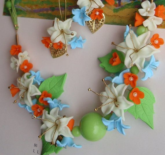 Necklace earrings lily setNight Glow setWhite light blue by insou, $34.50