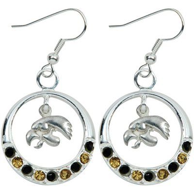 Dayna U Iowa Hawkeyes Ladies Open Drop Rhinestone Earrings