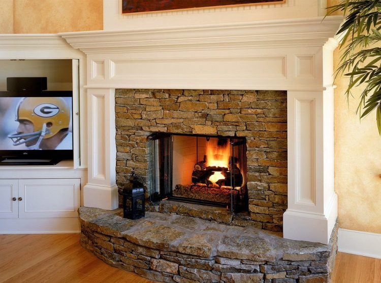 Brick Fireplace With White Mantel