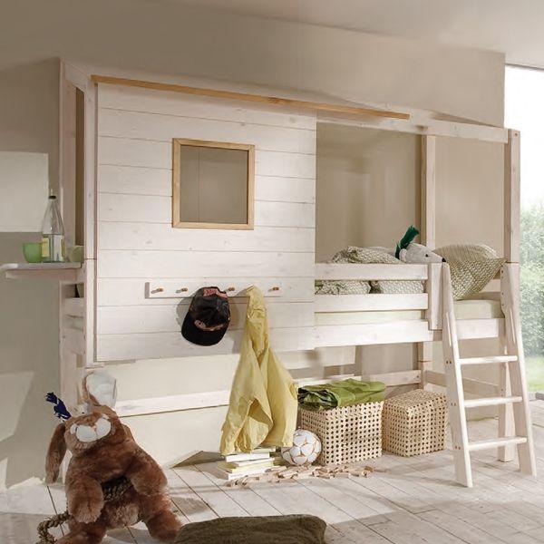 halbhohes abenteuerbett hütte - cariña - raumgestaltung für das ... - Kinder Abenteuerbett Hochbett Ideen Kinderzimmer