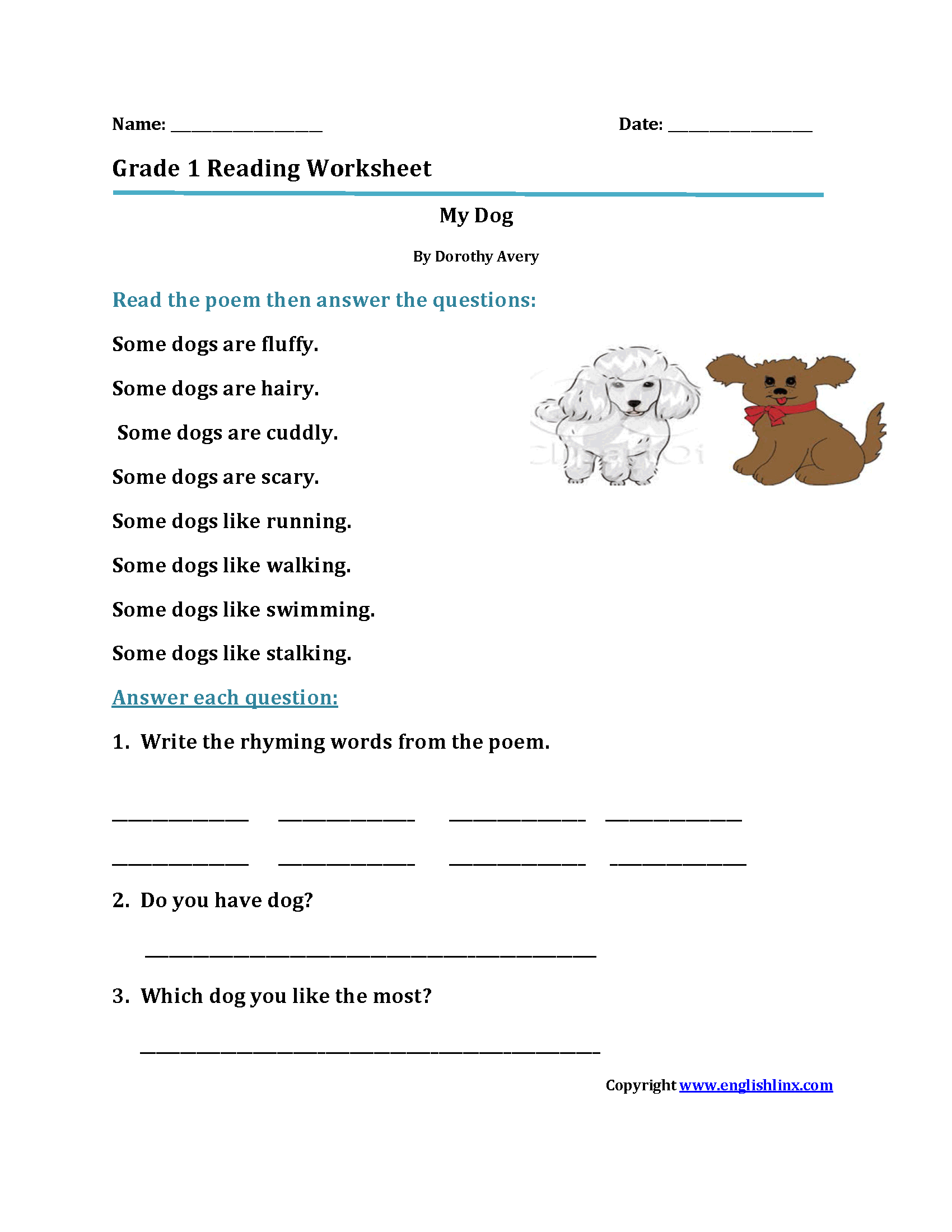 - My DogFirst Grade Reading Worksheets