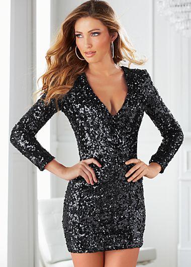 Sparkle Glitter and Shine! Sexy Black V-Neck Sequin Dress #Sexy ...