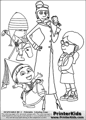 Coloring page with Lucy, Margo, Edith and Agnes from