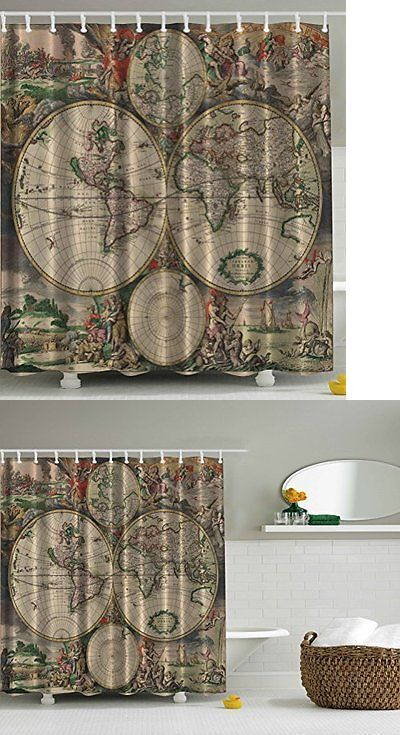 Shower curtain hooks 32874 shower curtain antiques old world map shower curtain hooks 32874 shower curtain antiques old world map globe art lounge decor antique gumiabroncs Gallery