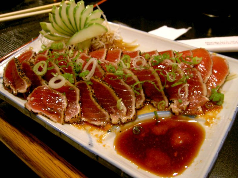 Tuna tatami. Looks perfectly done to me! Slightly messy plating, but I got distracted by the tuna