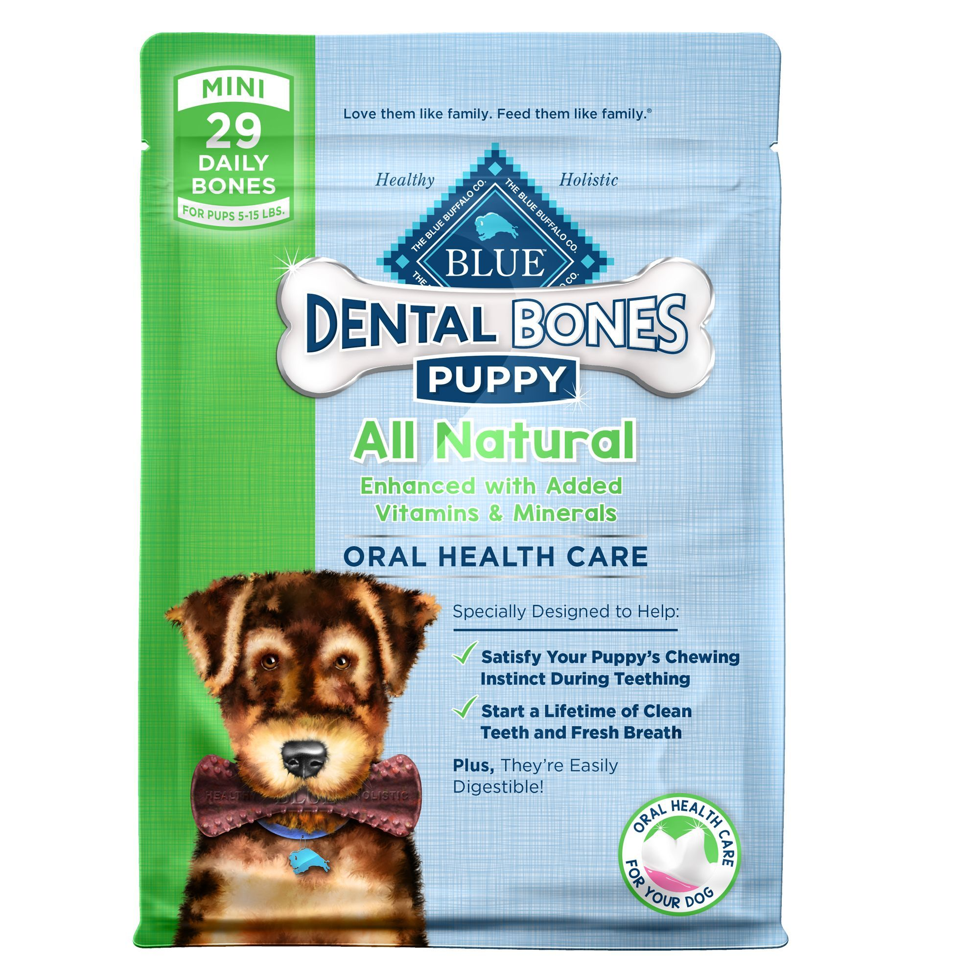 Blue Dental Bones Mini Puppy Treat Natural Size 29 Count Blue