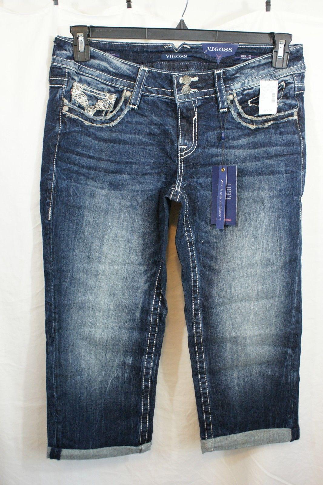 6774c5a99a7 Size 14 WOMENS VIGOSS Plus blue denim Chelsea CAPRI jeans pockets ...