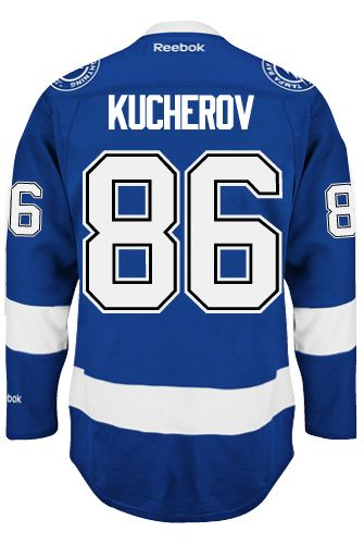 Tampa Bay Lightning Nikita KUCHEROV  86 Official Home Reebok Premier  Replica NHL Hockey Jersey (HAND SEWN CUSTOMIZATION) bae686f08