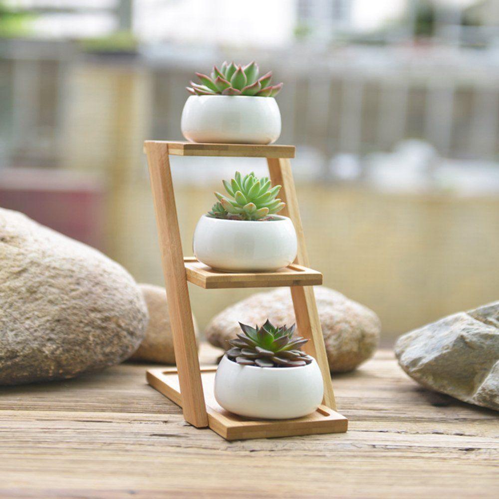 Succulent Planters Y M Tm White Ceramic Planter Set Of 3 400 x 300