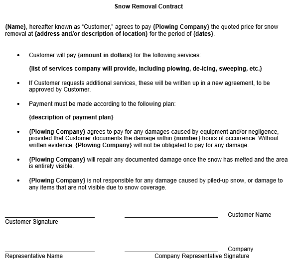 free snow removal contract template