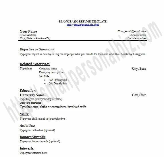 Printable Blank Resume Templates In Word for Students or Graduates - resume template no work experience