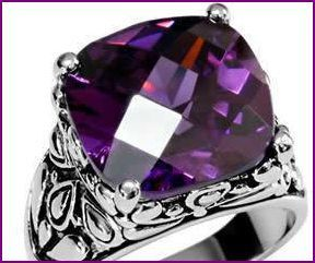 'sz8 Gorgeous Stainless Steel Amethyst Cushion Cut Cocktail Ring 8 ' is going up for auction at 5pm Mon, Aug 20 with a starting bid of $7.