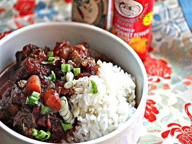 Jamaican Beef Stew With Rice Recipe Food Jamaican Recipes