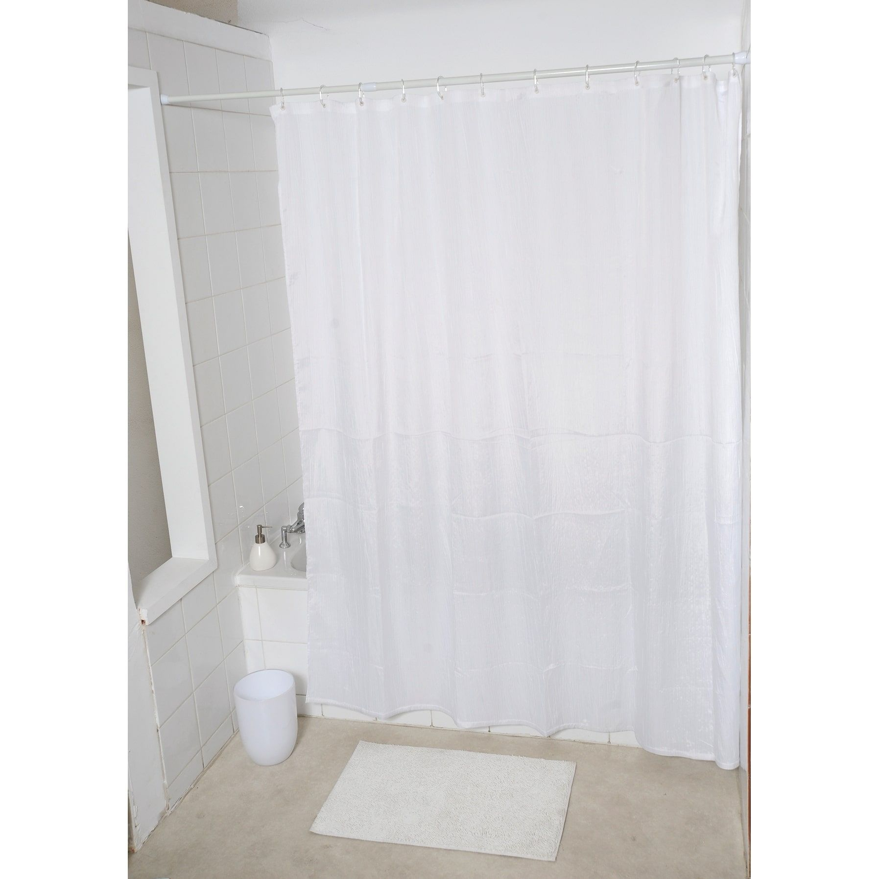Evideco Fabric Shower Curtain Wrinkled