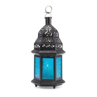 Amazon.com - Moroccan Lantern Blue Glass Candle Holder Candleholder - Decorative Candle Lanterns
