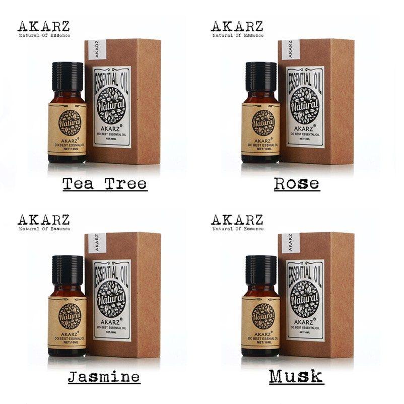 AKARZ Berühmte marke 100% Pure Jasmine tee baum Moschus rose Ätherische Öle Pack Für Aromatherapie, Massage, Spa, bad 4 teile/los