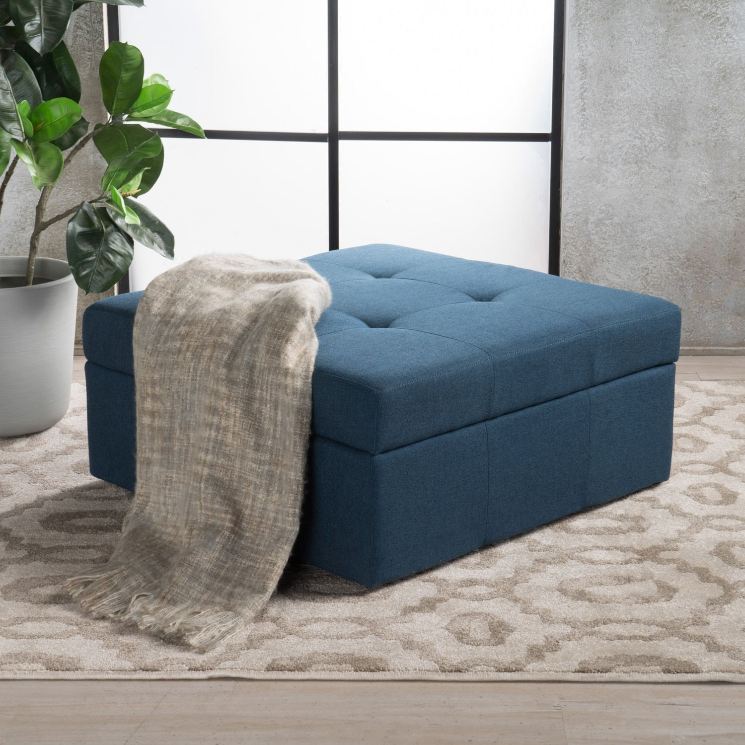 Pleasing Canoga Navy Blue Fabric Storage Ottoman Living Room Caraccident5 Cool Chair Designs And Ideas Caraccident5Info