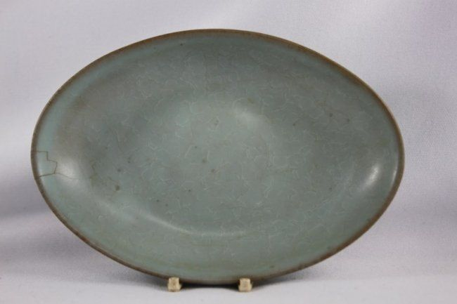 Rare Chinese Jun Glazed Oval Dish Possibly Song Dynasty With Slight Crackle Glaze Three Sagger Marks A F H 14cm Chinese Ceramics Chinese Pottery Chinese