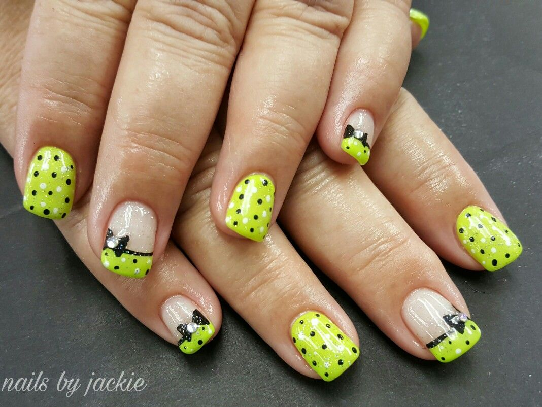 Young Nails Gel Lime Green Nails With Black Polka Dots And Bows