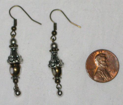 Gorgeous EARRINGS *VICTORIAN* Style Antique Silver & Gold tone HANDCRAFTED (FREE Shipping)