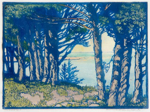 "Frances Hammel Gearhart (1869-1958) - The Sand Spit. Woodblock Print. 8-3/4"" x 12""."