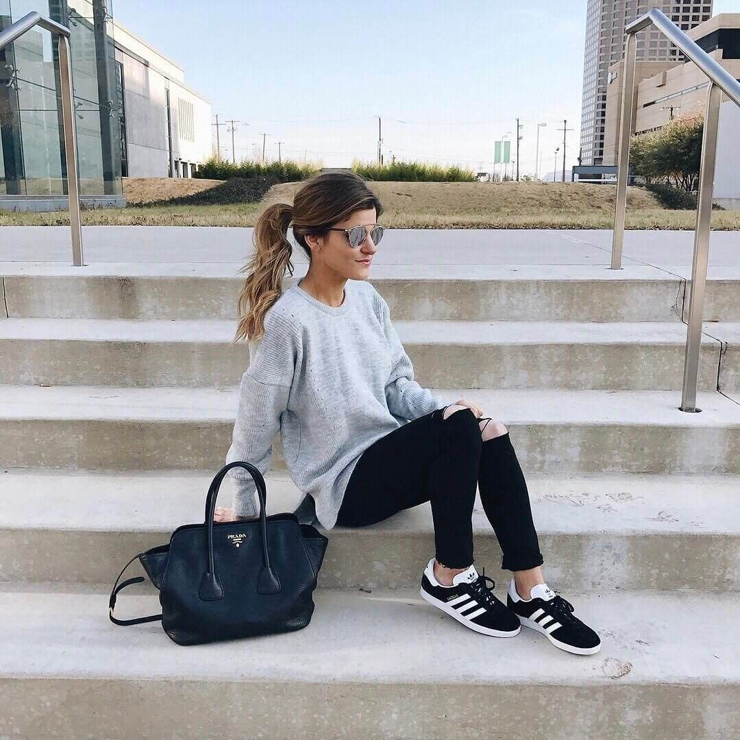 brand new 551c1 4901f comfy saturday outfit, oversized grey sweater distressed black jeans, adidas  black gazelle sneakers, laid back pony tail