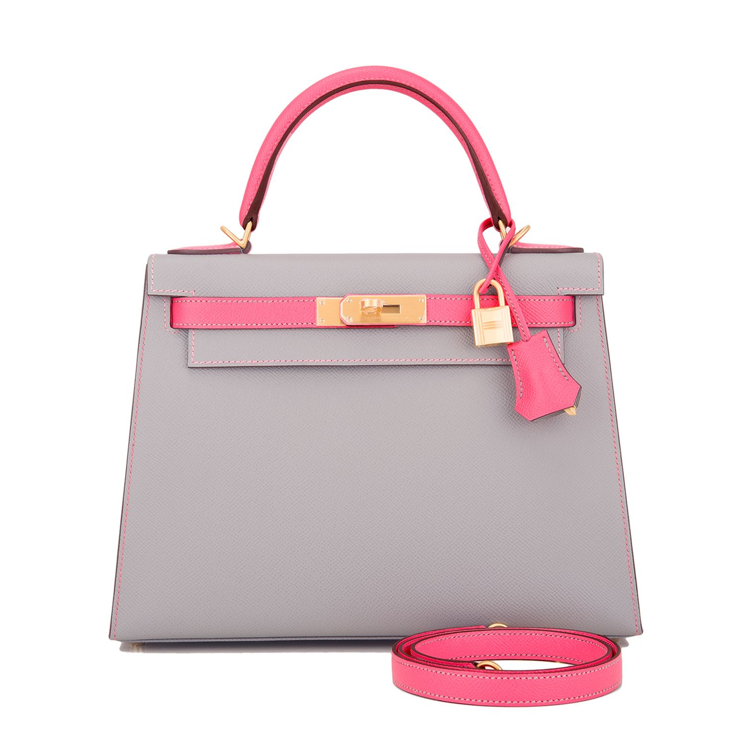 36f71e7297d Hermes Sellier Kelly Bag 28cm HSS Bi-Color Gris Mouette and Rose Azalea  Epsom Brushed Gold Hardware Image 1