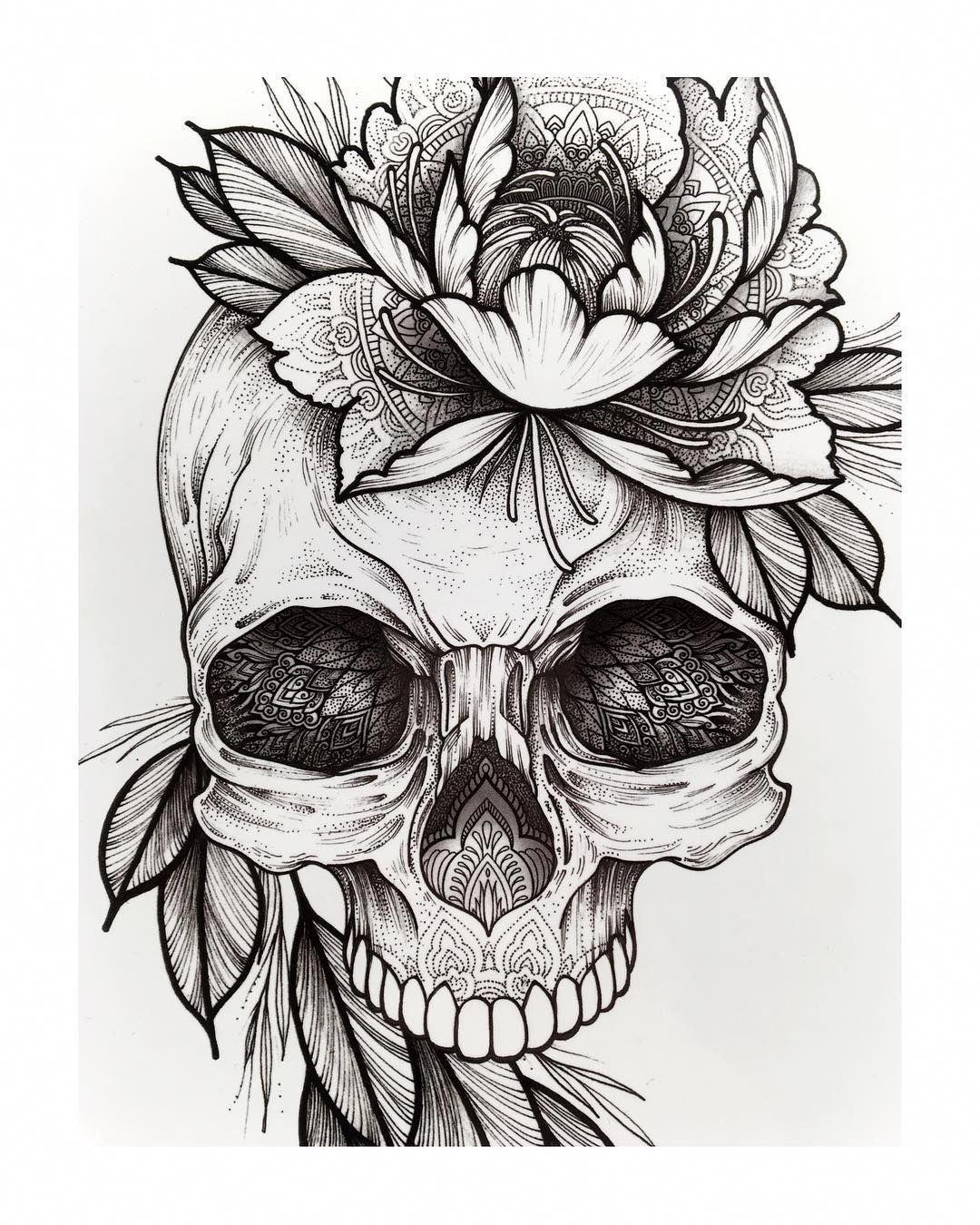 Simple Pattern Tattoos Patterntattoos Pattern Tattoo Tattoo Outline Drawing Skull Tattoo Flowers