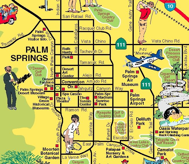 Palm Springs map | Travel USA ~ California | Palm springs, Palm ...